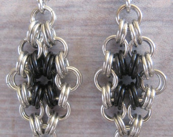 Earrings Chain Maille Black and Silver Aluminum Jewelry