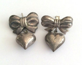Heart Bow Dangly Earrings Sterling Silver Vintage Jewelry CHRISTMAS Sale