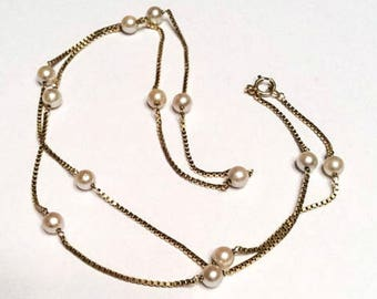 Pearl Necklace, 14K Gold, Venetian Chain Vintage Jewelry SPRING SALE