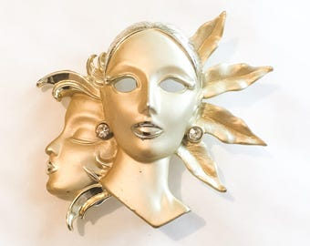 Lady Brooch, Mask, Masquerade Art Deco Revival Vintage Jewelry SPRING SALE