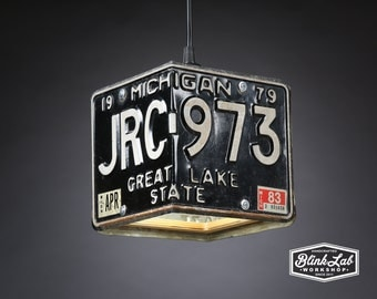 Michigan License Plate Pendant Shade, Square, Man Cave, Garage, Repurposed, Upcycle, Automotive Lamp, Hand Crafted Light, 1979
