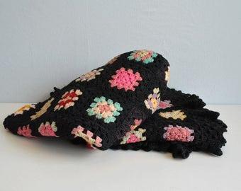 Vintage Granny Square Afghan / 1950s Wool Crochet Blanket Throw Multicolor Black Pink Green