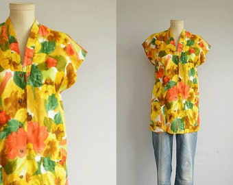 Vintage 1960s Hawaiian Shirt / 60s Miss Hawaii Kamehameha Tropical Floral Print Tunic Top Blouse Swim Cover Up / Made in Hawaii