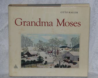 Grandma Moses Art Painting Book by Otto Kallir Oversize Vintage Hardcover 1973