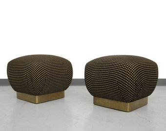Pair of Karl Springer Style Brass Base Souffle Ottomans Poufs
