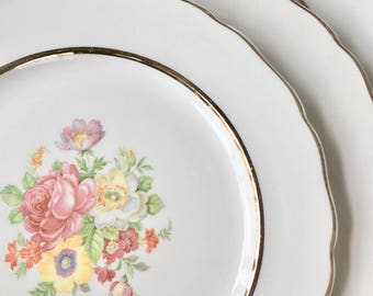 Pretty Floral Rose Plates, Four Dinner Plates by Canonsburg China ca. 1940