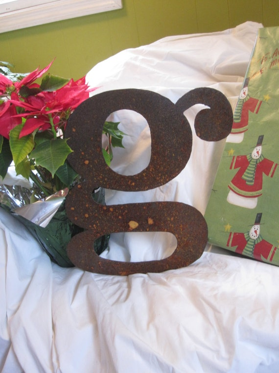 "Ready To Ship!  Lowercase metal letter ""g"" from Screaming Horse Iron Works. Custom sizes and letters available."