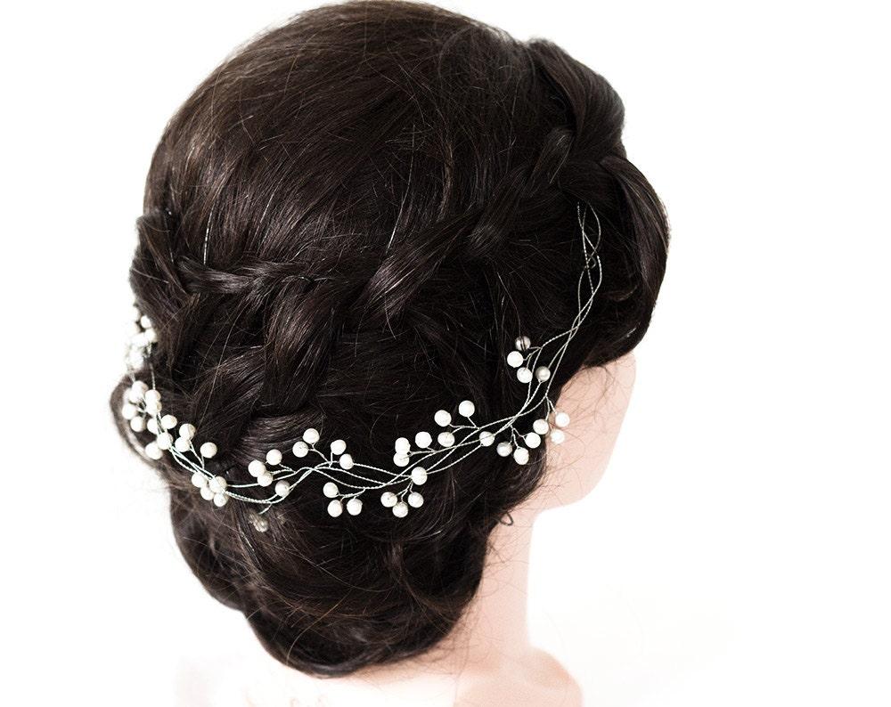 perle cheveux vigne ivoire perle bandeau argent vigne. Black Bedroom Furniture Sets. Home Design Ideas