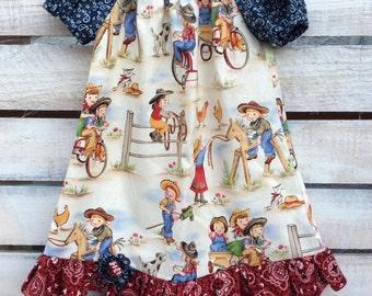 Western Dress, Western Peasant Dress, Girls Western Dress, Cowgirl Dress