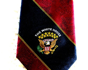 """Authentic Whitehouse Tir Red w Black White house eagle logo Pure silk Made in USA by Cambridge Ltd  3 1'4"""" w x 68"""" Long"""
