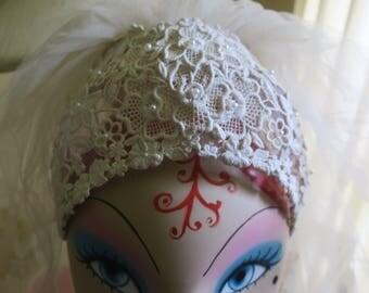 "Wedding Veil w Hat Whie Lace & net hat w comb 3 layesr  48"" w app. 85"" Long app"