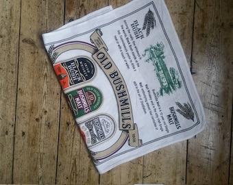 Irish whisky vintage tea towel vtg linens spirits white dish cloth Ireland souvenir Dolly Topsy Etsy UK