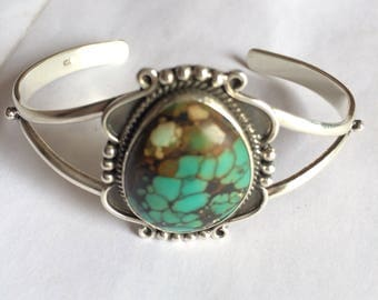 Bella cuff bracelet inspired from twilight 925 Sterling turquoise gemstone cabochon studded Finegemstone jewellery