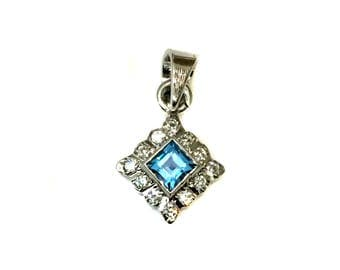 925 Sterling Silver Rhodium Plated Pendant setted Natural Blue Topaz, Cz stones Square pendant daily jewelry christmas giftforher mothersday