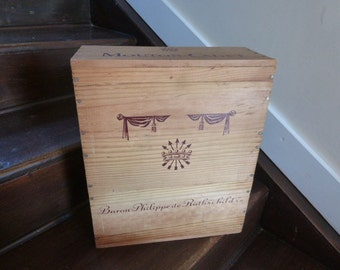 French Wine Box Crate / Case, Wood Storage and Organisation Box Mouton Cadet Baron Phillipe de Rothschild Bordeaux