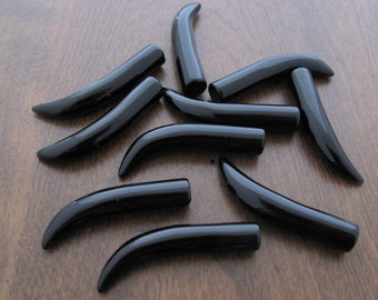 Gorgeous  Black obsidian  tusk, Jewelry Making  supplies B6710