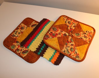 Hand Quilted Pot Holder-Crocheted Washcloth Set of 3 - Orange Yellow Green Red Brown Sunflower - Mother's Day Holiday Gift Basket Gift