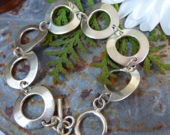 VINTAGE 925 STERLING round link  bracelet