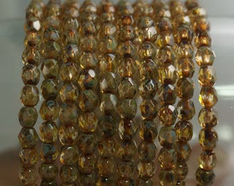 4MM  Yellow Amber Picasso Czech Glass Spacer Accent Beads 50Pcs