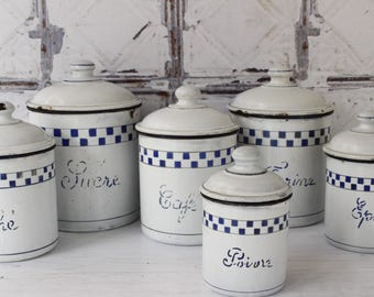 French Enamel Kitchen Cannisters...Set of Six.......Nordic Home....Shabby Chic
