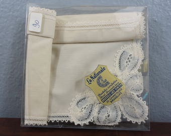 Vintage Brussels Lace Off White Hanky  Original Box and Label