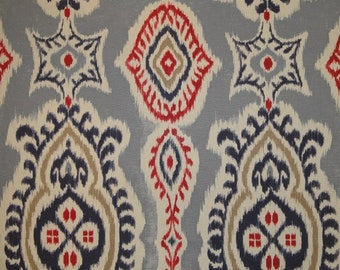 Ikat Decorative Pillow Cover - Blue Red Off White - Cushion - Pillow Case