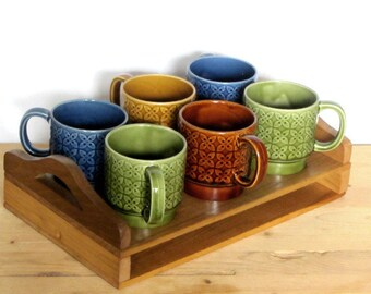 Vintage Stacking Coffee Mugs Embossed Flowers With Tray Set of Six Blue Avocado Brown Cups Cactus Planters Succulent Pots