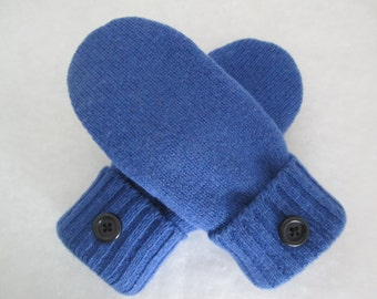 Women's wool mittens royal blue fleece lined size medium Ready to Ship