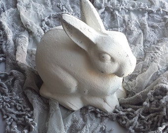 Bunny Creamy White Distressed Chippy Rabbit Cast Iron Easter Nursery Decor Paperweight Garden French Farmhouse Cottage Shabby Chic Style