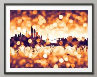 New York City Skyline, NYC Cityscape Art Print (2588)