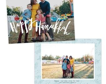 INSTANT DOWNLOAD - Hanukkah Card Photoshop template - e1409
