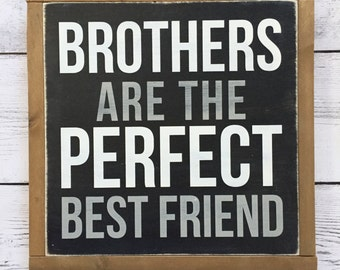 "Distressed Wood Sign - ""Brothers are the perfect best friend"" - Rustic Boys Bedroom Home Decor - Winnie the Pooh - Boys Nursery"