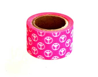 Shop Closing Sale!  30mm Wide Washi Tape | Hot Pink Peace Sign