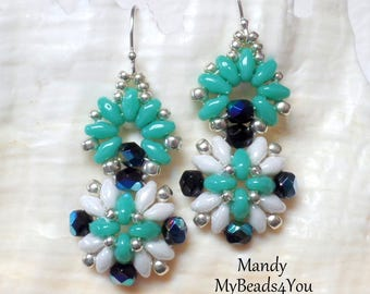 SuperDuo Earrings, Beadwork Earrings, Beadwoven Earrings,Beaded Earrings, SuperDuo Beaded Earrings, Turquoise Earrings, MyBeads4You