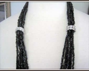 Black Glass Necklace -  Multistrand Torsade - Rhinestone Rondelles - Elegant Necklace