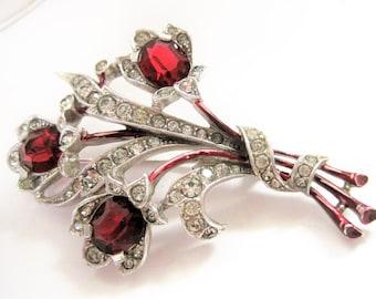 Red Trifari  Brooch - Albert Spaney - Rhodium Setting  -  Pat Pend. Rhinestone  Pin