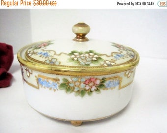 Nippon PowderJar - Gilded Edges - Hand Painted - China Gold Footed Jar