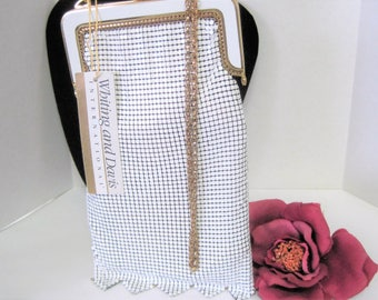 Whiting Davis Purse - White  Mesh - NOS with tags - Flapper Evening Bag - Wedding Purse - Never Been Carried