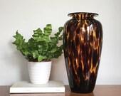 Vintage Tortoise Glass Vase Decorative Tortoise Shell Glass Flower Vase Hand Blown