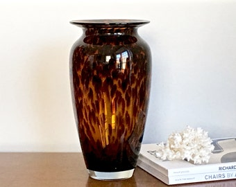 Large Vintage Tortoise Glass Vase Flower Decorative Vase Hand Blown Preppy Hamptons Decor