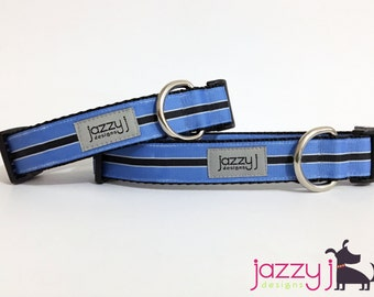 Blue and Black Pinstripe Dog Collar