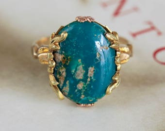 Reserved for DM--3rd Payment of 5, due 7/9--Antique Ostby Barton 2.75ct Turquoise Ring, Art Nouveau Gold Ring, Rare OB Turquoise Matrix Ring