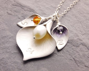 Calla Lily Necklace, mother daughter, mom necklace, mother necklace, calla lily jewelry, grandma necklace, initial necklace, nana, N6
