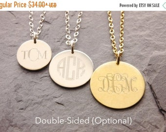 SALE: Monogram Necklace, monogram pendant, three initials, gold disc necklace, double sided engraving, bridesmaids necklace, gifts, N17