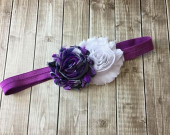 Purple & White Headband - Newborn Infant Toddler Girls Adult - Light Dark Purple Gray Blue