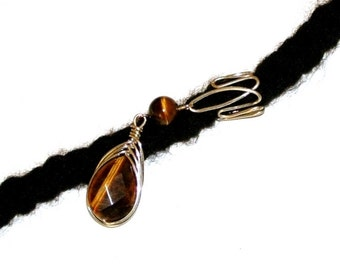 Dreadlock Jewelry - Silver Wire-Wrapped Tiger Eye Teardrop and Jig Pattern Slide Loc Jewel
