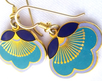 """LAUREL BURCH """"Plum Blossom"""" Drop Earrings in Royal Blue, Turquoise, Lavender & Gold."""