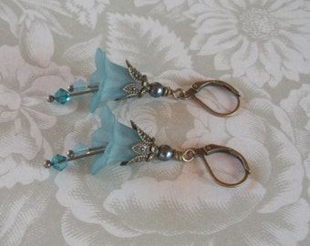 Lucite Plastic Flower Earrings---Teal Blue with Swarovski Crystals and Pearls