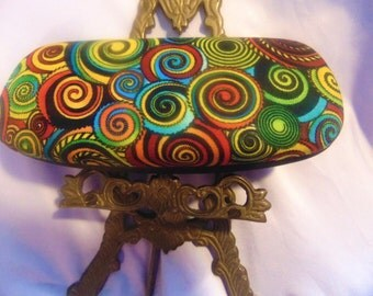 "Woman's handmade hard eyeglass case, ""Swirls""/ vision accessory/ health & beauty/ bag or purse item/ ocular aid/ eye aid art/ woman's gift"