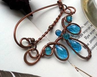 Shawl Pin, Scarf Pin, Sea Blue Copper pin, Artisan Shawl Pin, Wire Wrapped Brooch, Handmade Wire Wrapped Brooch - Wire Jewelry
